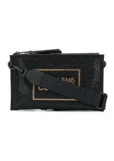 Versace crystal-embellished branded clutch bag