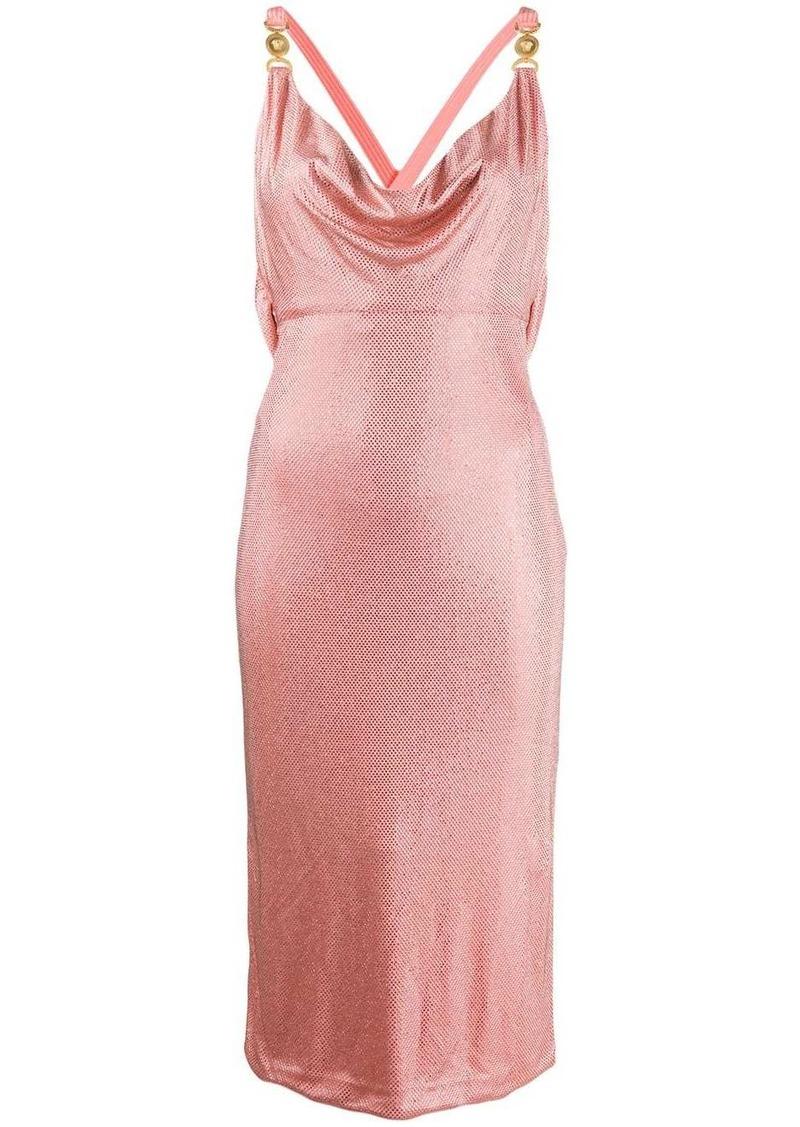 Versace crystal-embellished fitted halterneck dress