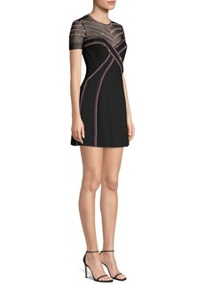 Versace Crystal Embellished Illusion Yoke Dress