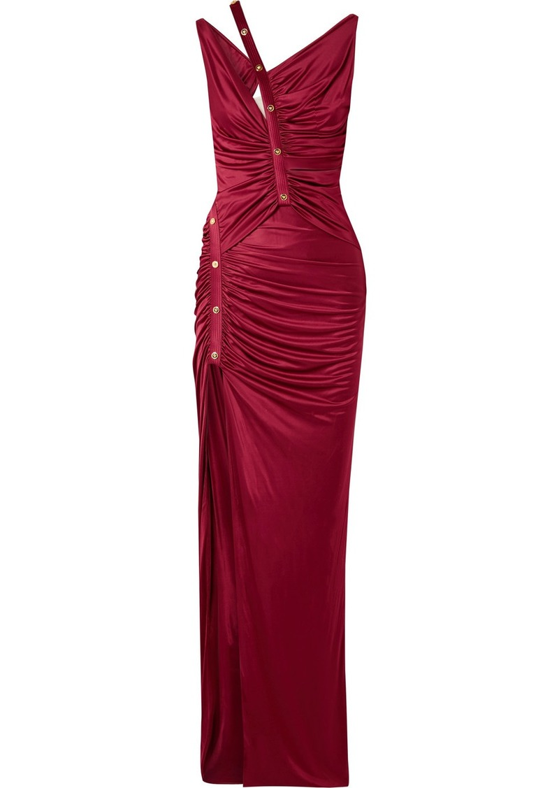 Versace Cutout Button-detailed Ruched Satin Gown