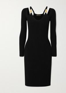 Versace Cutout Embellished Ribbed-knit Dress