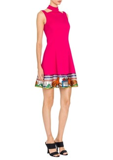 Versace Cutout Temple Print Trim Dress
