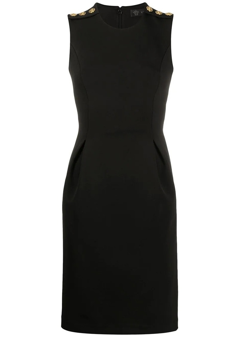 Versace decorative button fitted dress