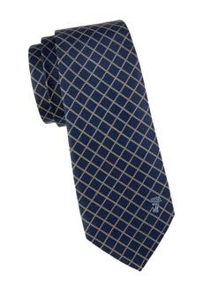 Versace Diamond Check Textured Silk Tie