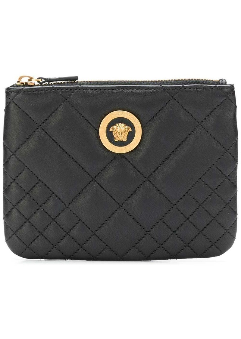 Versace diamond quilted zip purse