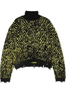 Versace Distressed Intarsia Wool-blend Turtleneck Sweater