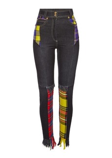 Versace Distressed Jeans Plaid Patchwork