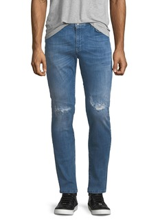 Versace Distressed-Knee Light-Wash Jeans