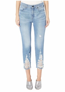 Versace Distressed Trim Boyfriend Jeans in Indigo