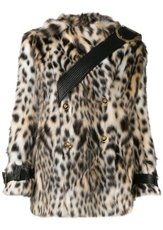 Versace double-breasted leopard print faux-fur coat