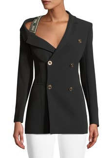 Versace Double-Breasted Off-the-Shoulder Beaded-Strap Silk Jacket