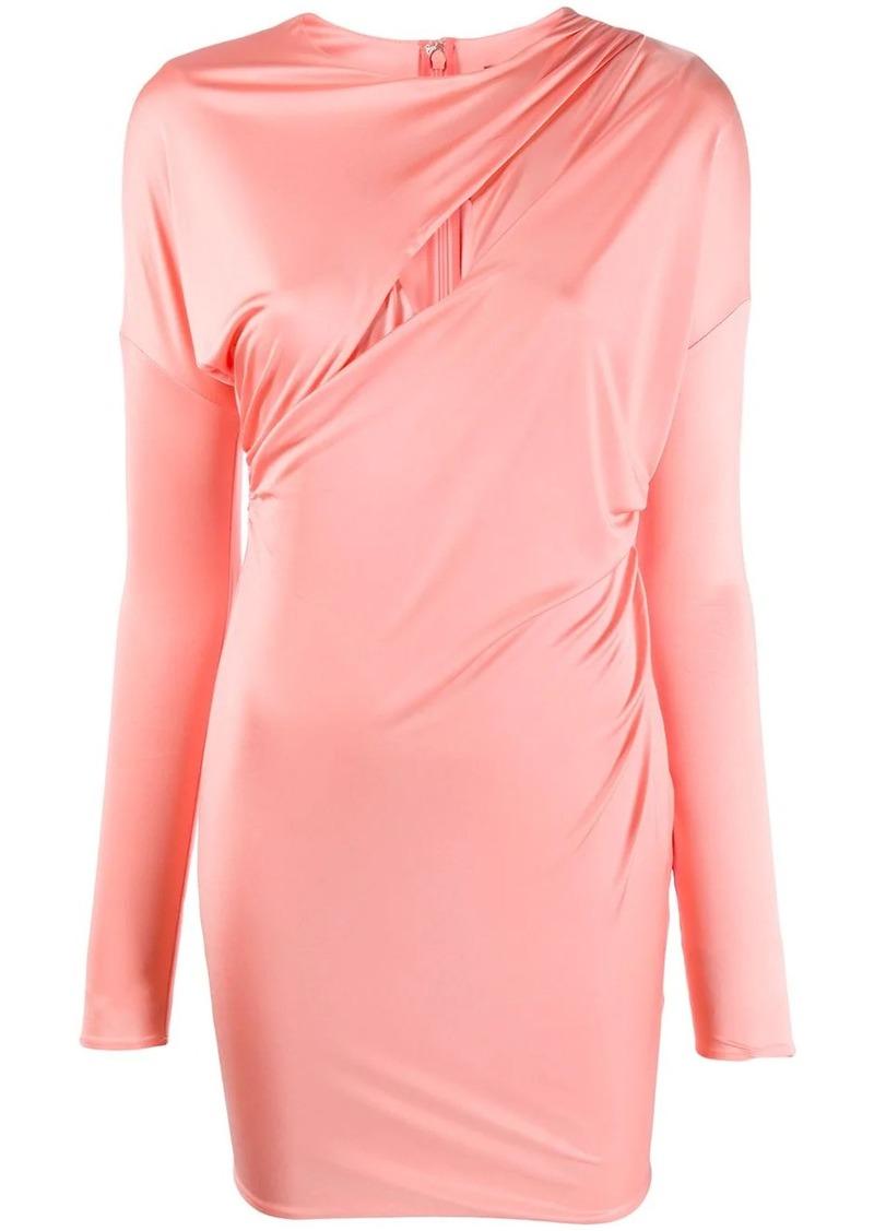 Versace draped keyhole neckline dress