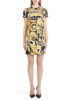 Versace Barocco Print Cutout Shift Dress