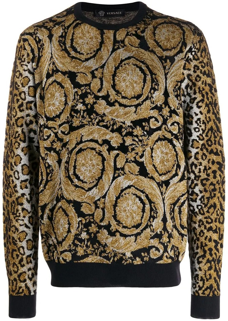 Versace dual-pattern knit jumper