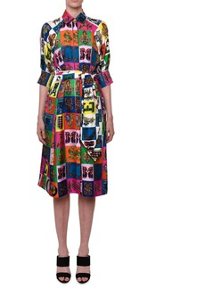 Versace Elbow-Sleeve Letter Pop-Print Belted Mid-Calf Dress