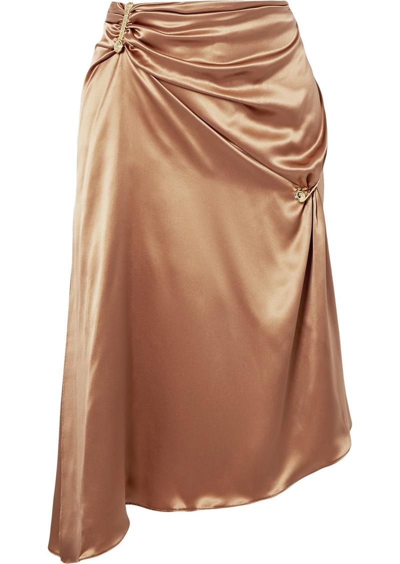 Versace Embellished Asymmetric Silk-charmeuse Skirt