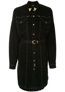 Versace embellished collar belted shirt dress