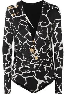 Versace Embellished Cutout Printed Satin Bodysuit