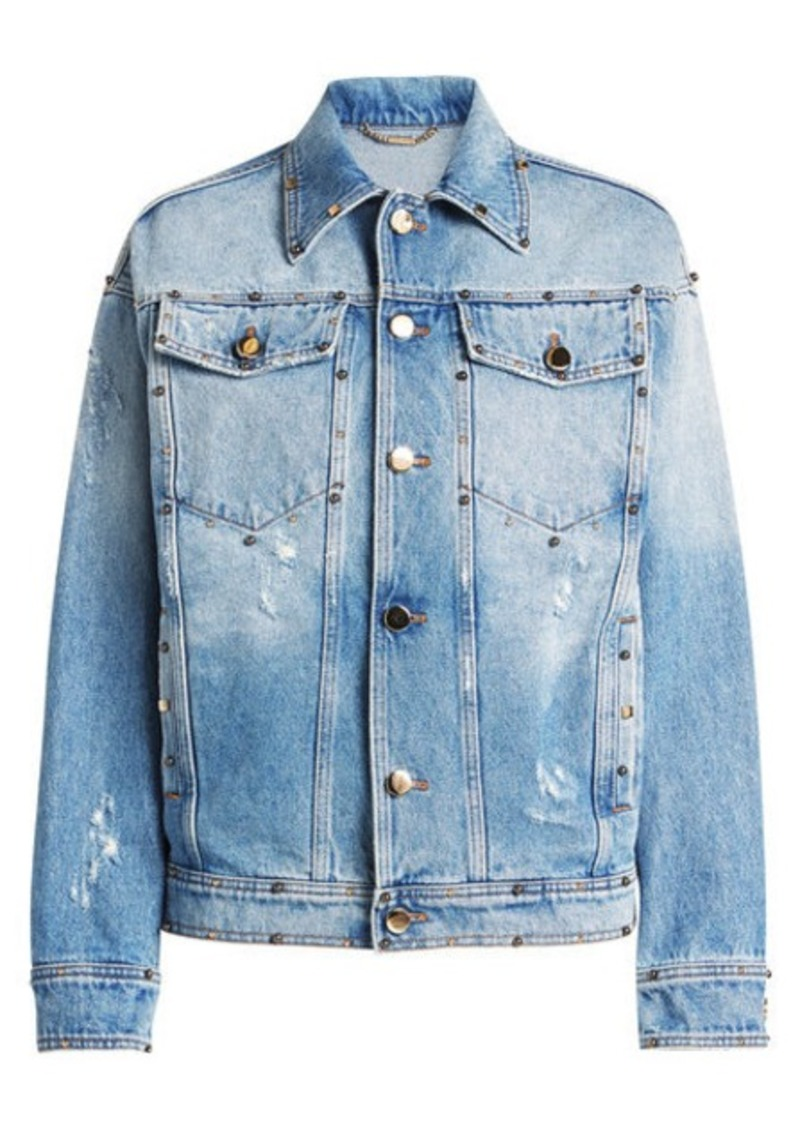 Versace Embellished Denim Jacket with Printed Silk