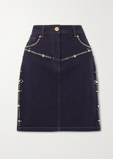 Versace Embellished Denim Mini Skirt