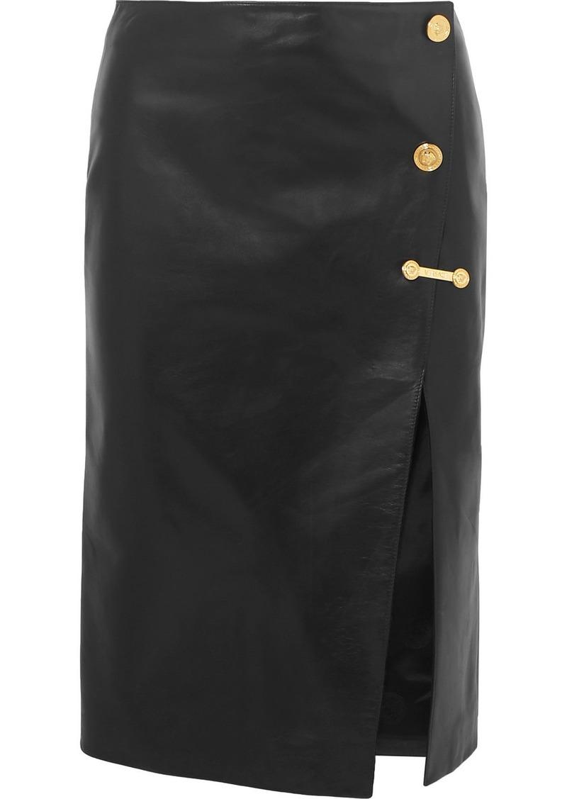 Versace Embellished Leather Skirt