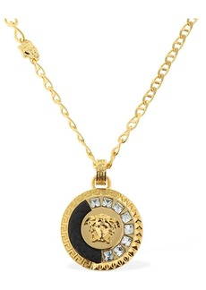 Versace Embellished Medusa Charm Necklace