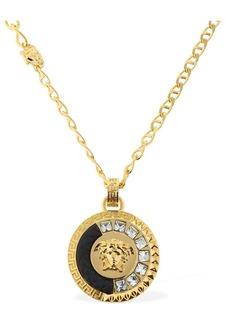 Versace Embellished Medusa Charm Necklace