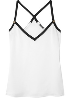 Versace Embellished Two-tone Crepe Camisole
