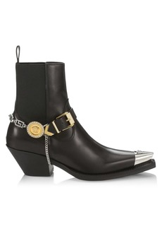 Versace Embellished Western Leather Boots