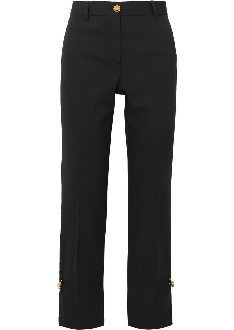 Versace Embellished Wool-blend Straight-leg Pants