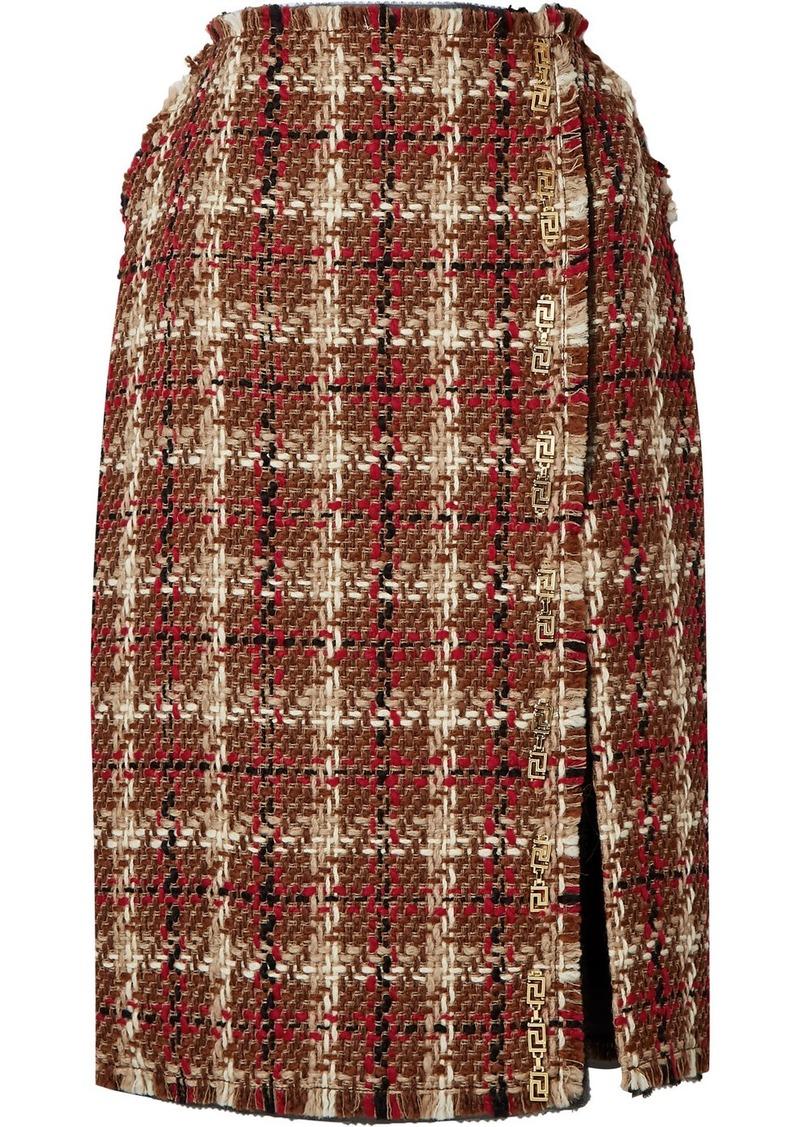 Versace Embellished Wool-blend Tweed Midi Skirt