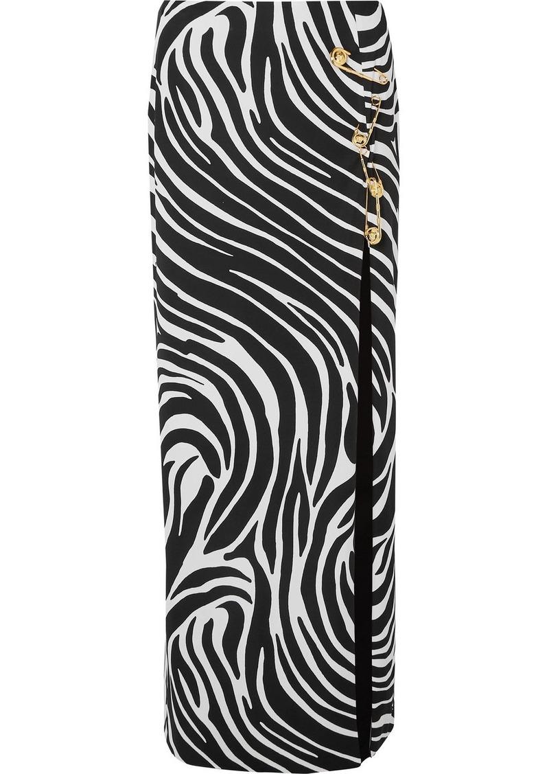 Versace Embellished Zebra-print Satin Maxi Skirt