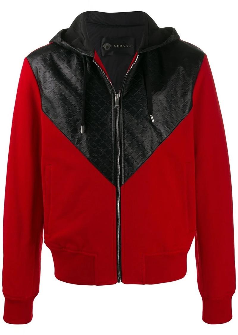 Versace embossed panelled hoodie