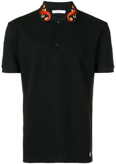 Versace embroidered collar polo shirt