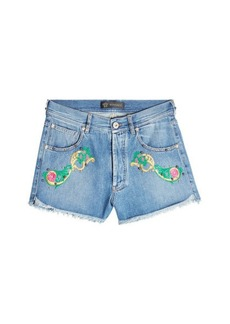 Versace Embroidered Denim Shorts