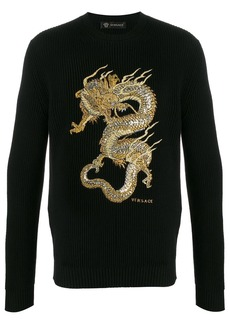 Versace embroidered dragon ribbed jumper