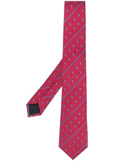 Versace embroidered GV detail tie
