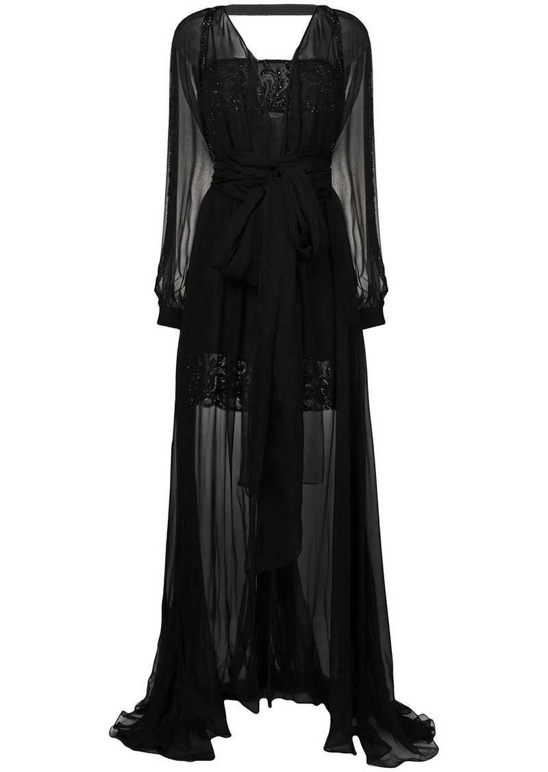 Versace embroidered layered tulle gown