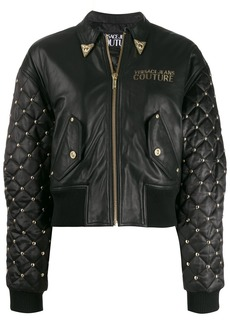 Versace embroidered leather jacket