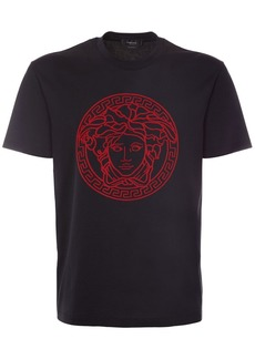 Versace Embroidered Logo Cotton T-shirt