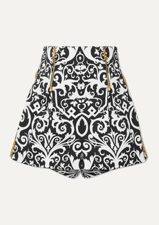 Versace Embroidered Printed Cotton-blend Twill Shorts