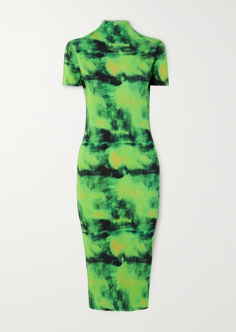 Versace Embroidered Tie-dyed Ribbed Silk-jersey Midi Dress