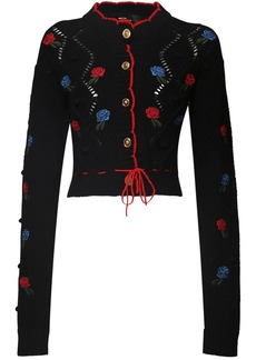 Versace Embroidered Wool Knit Cardigan