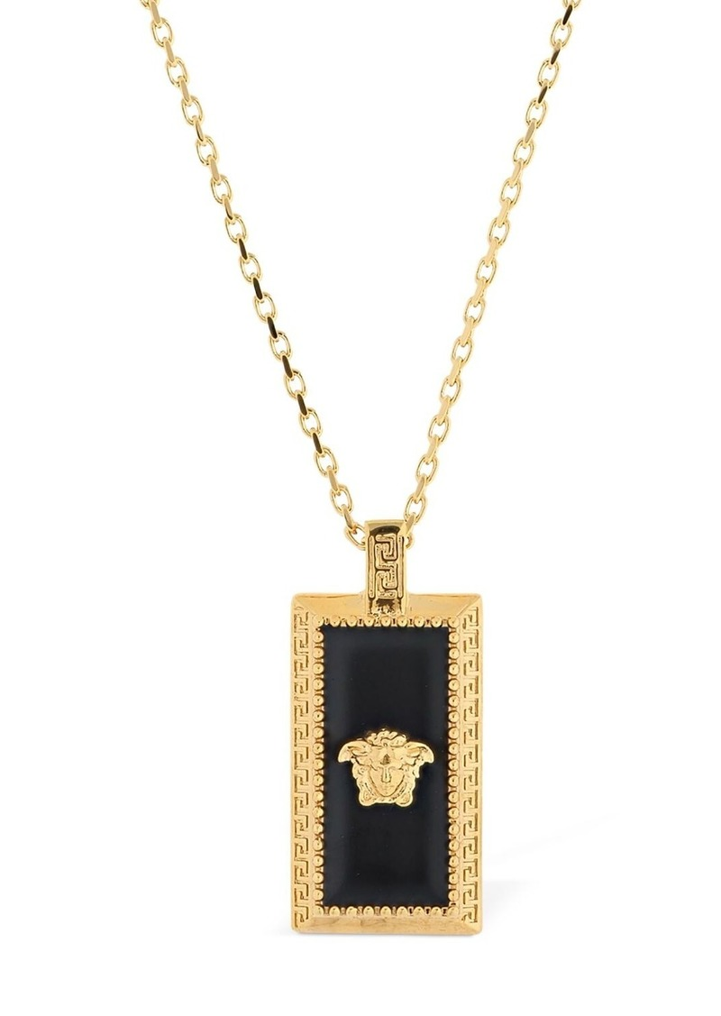 Versace Enameled Squared Medusa Necklace
