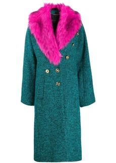 Versace faux-fur collar felt coat