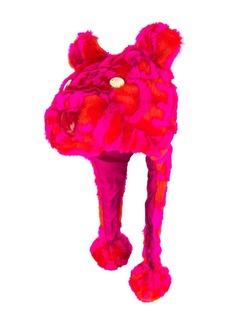Versace faux-fur logo animal hat