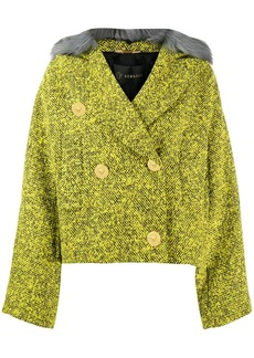Versace faux fur trim tweed jacket