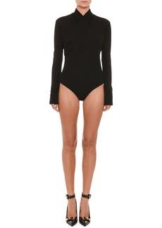 Versace Faux-Wrap Long-Sleeve Bodysuit