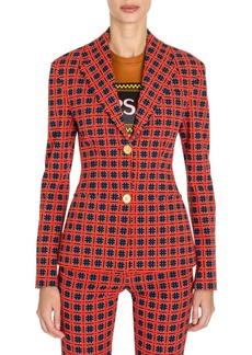 Versace Fire Check Two-Button Blazer
