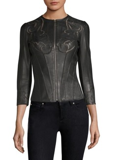 Versace Fitted Laser-Cut Leather Jacket